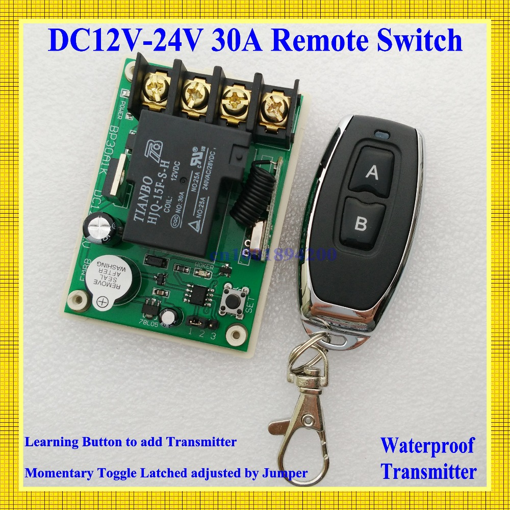 Remote Control Switches DC 12V-24V 30A Relay Wide Voltage Receiver 12V 14V 16V 24V Receiver Transmitter 3000W Remote Controller dc 3 5v 12v mini relay 2 receiver