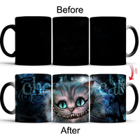 Glimlach leuke kat dier Warmte gevoelige mok cup Porselein Magic Kleur veranderende Thee Kopjes mok beste gift voor uw vrienden