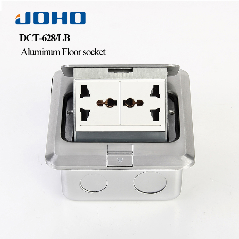 JOHO Aluminum Alloy Panel Socket Fast Pop Up 6 Hole Floor Socket Box With Double Universal Sockets 250V 10A Electrical Outlets