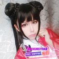 80cm Chinese Paladin Card Captor Sakura Long Black Cosplay Wig With Ponytails Heat Resistant Synthetic Straight Hair For Costume