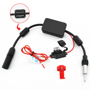 Image 1 - Amplificador de sinal de rádio do automóvel do carro da antena 12 v antena aérea do carro da antena de fm/am