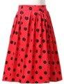 Женщины Midi Юбка 2017 Высокая Талия Цветочные Горошек Плиссированные Юбки Лето Vintage Rockabilly 50 S 60 S Юбка Хлопка Saia Faldas