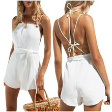 2019 new arrival white cinched women set summer short sleeves top high waist shorts beach boho backless suits
