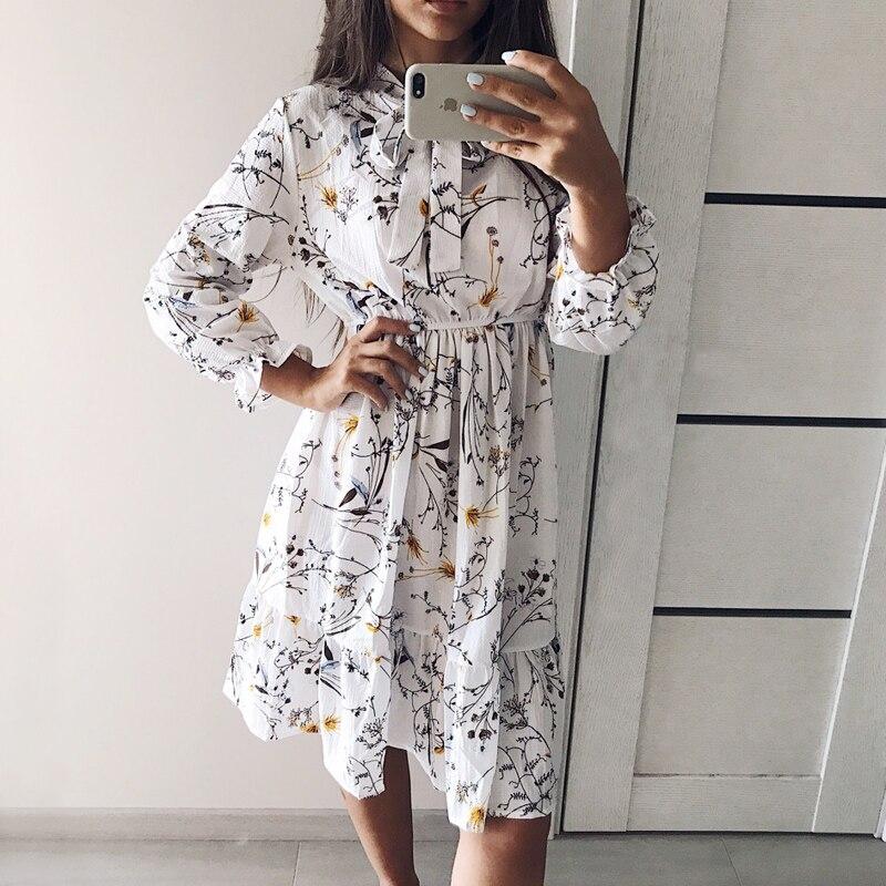 Vestido de fiesta de gasa de cintura alta elástica con lazo Línea A para mujer manga completa estampado Floral bohemio Vestido femenino talla grande