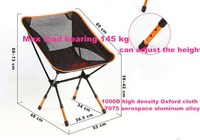 Cadeiras de praia Portátil Dobrável Tamborete Cadeira de Acampamento carga Máxima de rolamento 145 kg silla plegable pode ajustar a altura