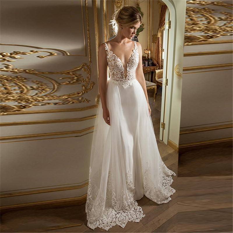 Sexy V Neck Beach Wedding Dress Applique Lace Bride Dress Summer Holiday Boho Wedding Dress Long Robe Mariage Vestidos De Noiva