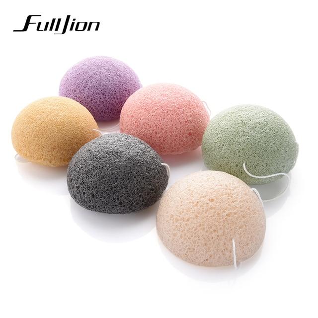 Fulljion 6 renkler doğal Konjac Konnyaku kozmetik puf yüz sünger yüz temizleyici yıkama yüz bakımı yüz toz makyaj araçları