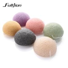 Fulljion esponja Facial Konjac Konnyaku, 6 colores naturales, cosmético, puff, cuidado Facial de Limpieza Profunda, herramientas de maquillaje Facial en polvo