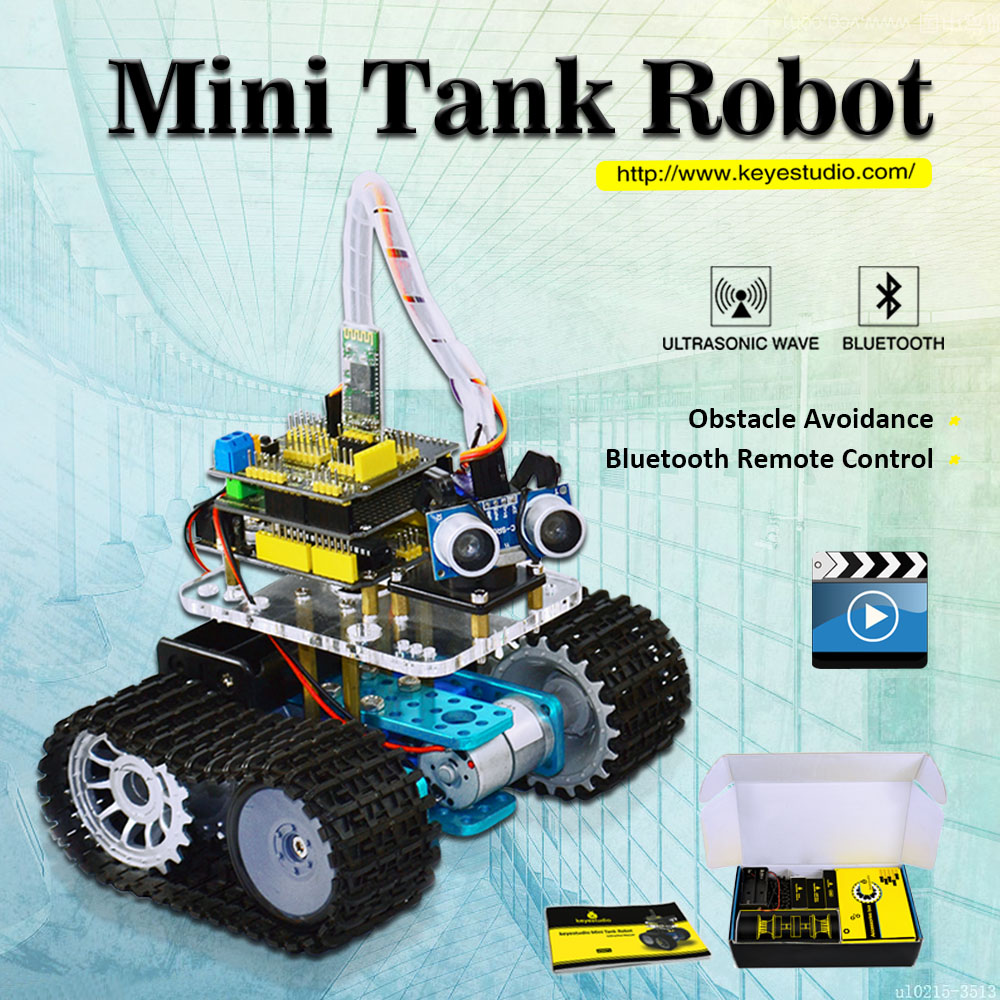 Keyestudio BRICOLAGE Mini Réservoir Robot Intelligent voiture kit pour Arduino Robot Programmes D'éducation + manuel + PDF (en ligne) + 5 projets