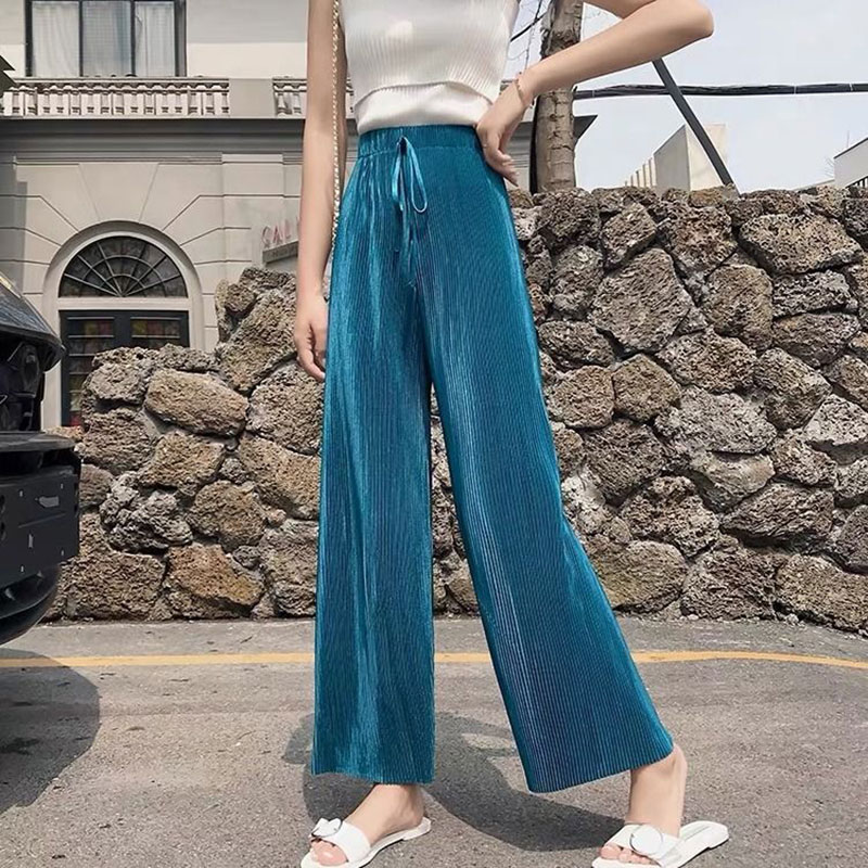 F&je New Arrival Summer Women Pants Plus Size High Waist Loose Casual Ankle-length Pants Vertical Pleated Trousers Big 4XL D51