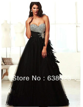 AEL182  Sexy Beaded Bodice Side Feather Tulle Black Shiny Evening Dress