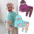 Florales Muchachas de Los Bebés Ropa de Abrigo de Manga Larga + Pantalones Trajes 2 UNIDS Ropa Suéter Con Capucha Traje