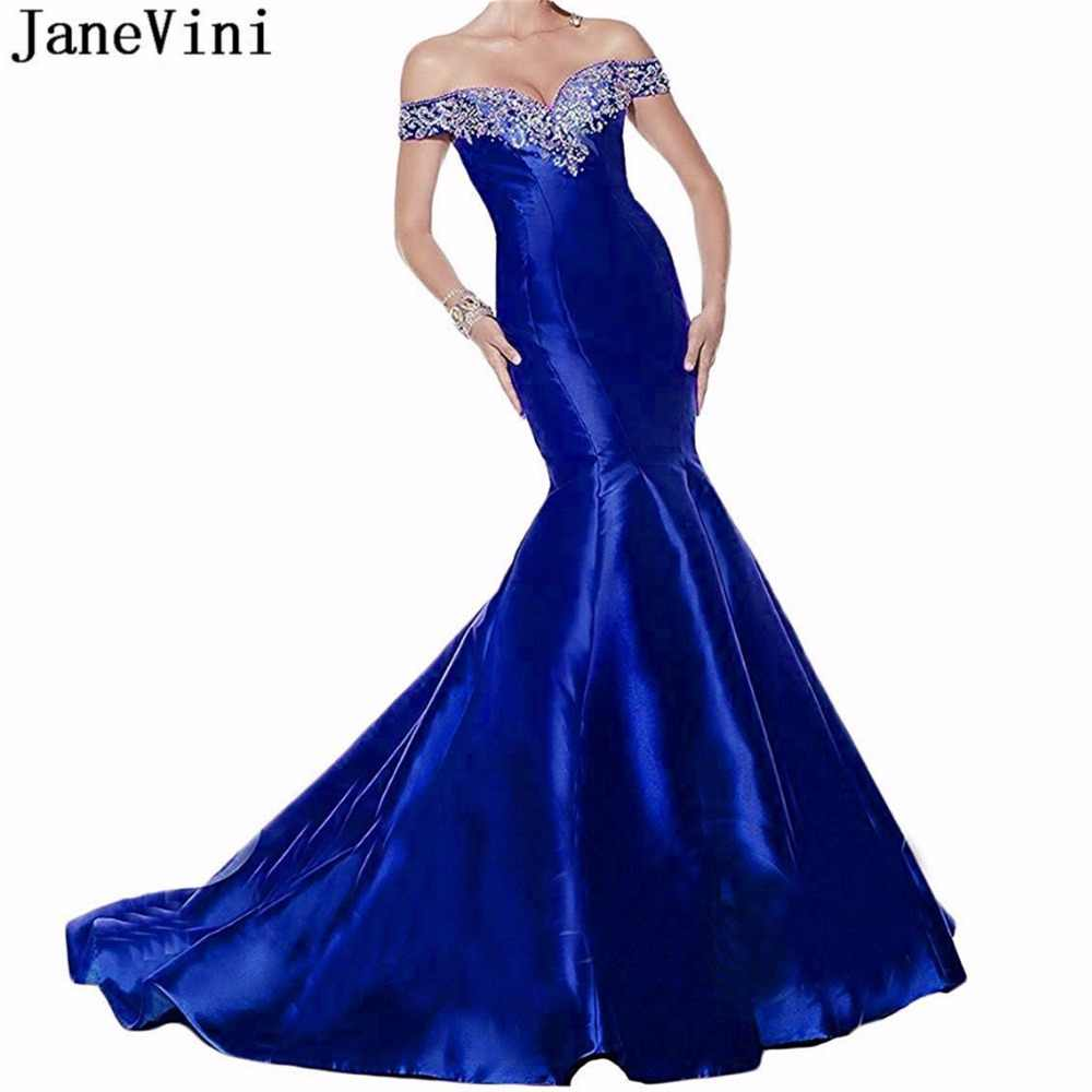 JaneVini סקסי בת ים רויאל בלו שמלת ערב כבוי כתף שמלת פאייטים חרוזים ארוך סאטן שמלות לטאטא רכבת Vestidos דה Noite