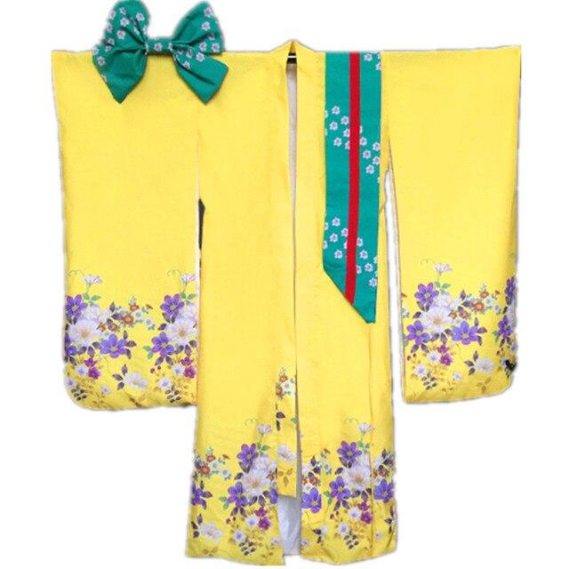 Mulheres Japonesas do Quimono Yukata Com Obi amarelo Sexy Traje Bar Novetyl Foto Roupas Vintage Vestido de Baile das Mulheres Um Tamanho