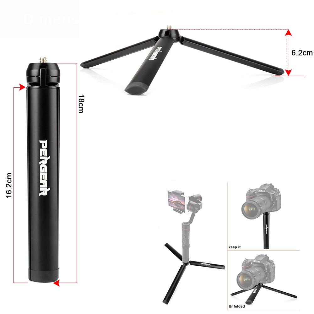 Pergear Aluminum Mini Table Tripod Leg for Zhiyun Smooth Q Crane Tripod Head Selfie Stick Extendable Monopod Smartphones Cameras