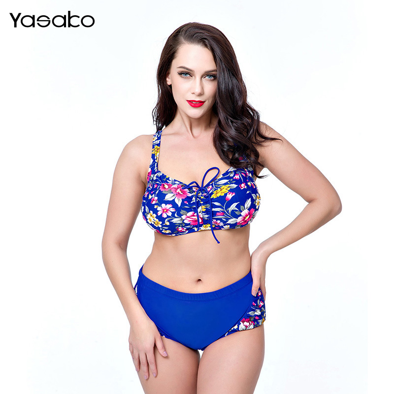 YASAKO 2017 Women Swimwear Sexy Plus Size Swimsuit Fat Wear Plus Size Bikini Set Push Up Biquini Women Large Cup Bikini lena gaga swimsuit cover up set bikini 2017 xxxl xl vintage bikini retro fat breast big bust bow bikini plus size swimwear women