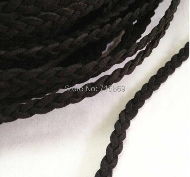 Envío Gratis 100 metros 6mm * 1,5mm negro trenzado coreano Cachemira suave plana de cordón de cuero de gamuza-in Fornituras y componentes de joyería from Joyería y accesorios    1