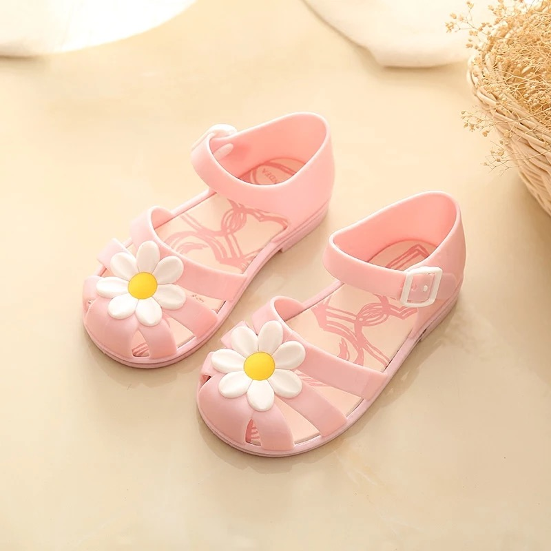 Mini Melissa 2018 New pattern apakowa Childrens shoes girls sandals Flower kids sandals Flat Prevent slipping Jelly sandals