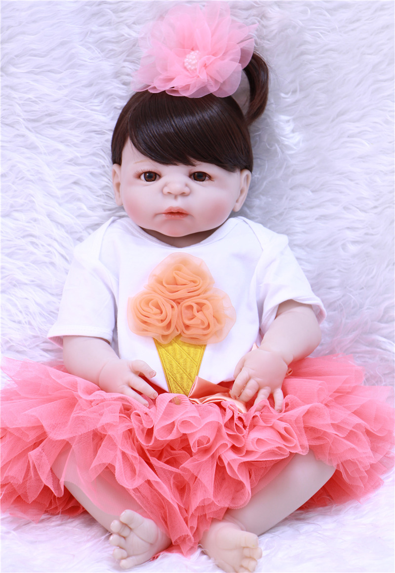 Baby Doll Toy Girl 23Inches Reborn Stuffed Vinyl Babies Doll big eyes For Girls Reborn Dolls Children Toys high quality SiliconeBaby Doll Toy Girl 23Inches Reborn Stuffed Vinyl Babies Doll big eyes For Girls Reborn Dolls Children Toys high quality Silicone
