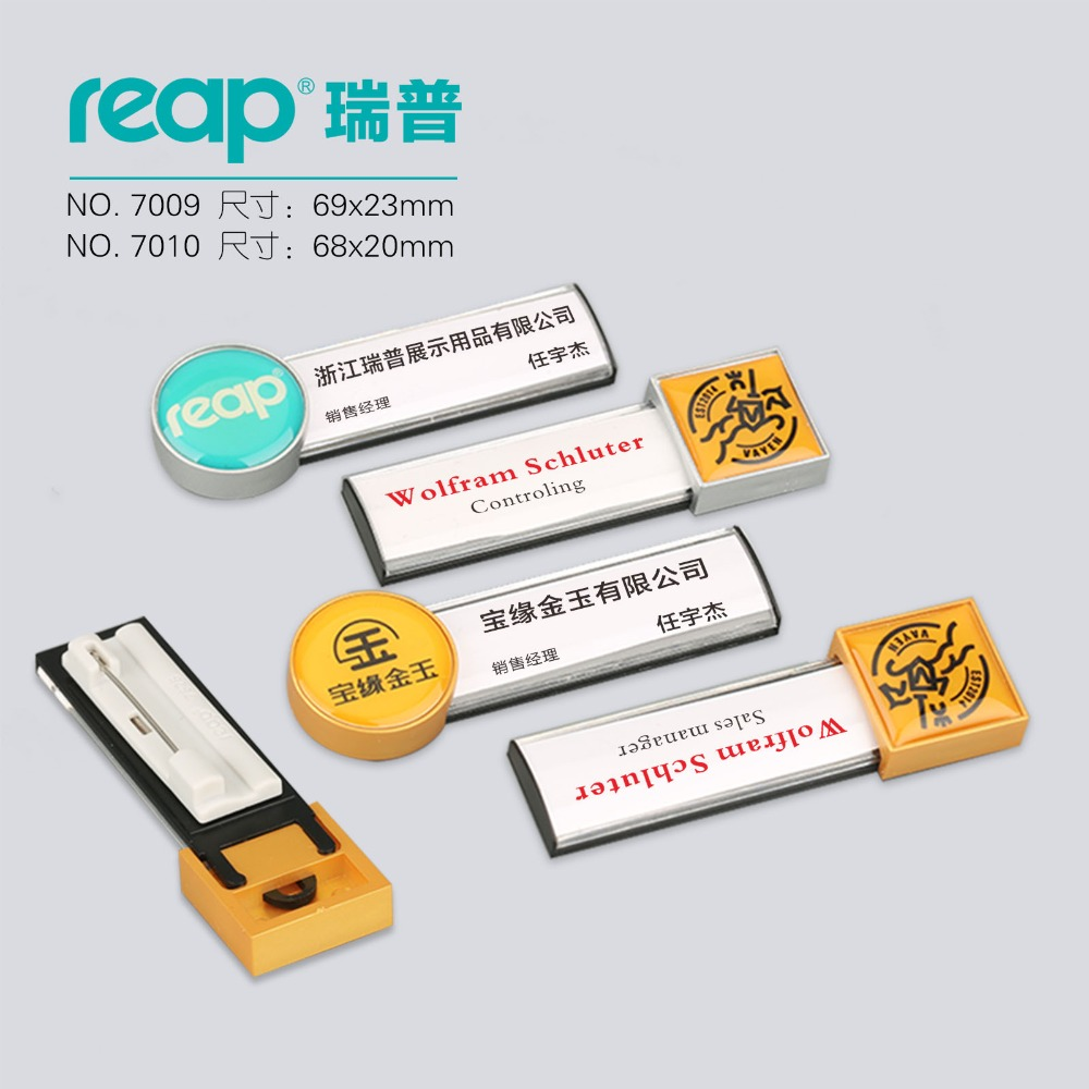 20pcs lot Reap Business Name Tag ID Badge Personalized Laser Engraved pin backing CUSTOMIZE 7009