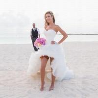 Beach Vestido De Noiva High Low Ruffles Wedding Dress 2019 Party Gowns Lace Robe De Mariee