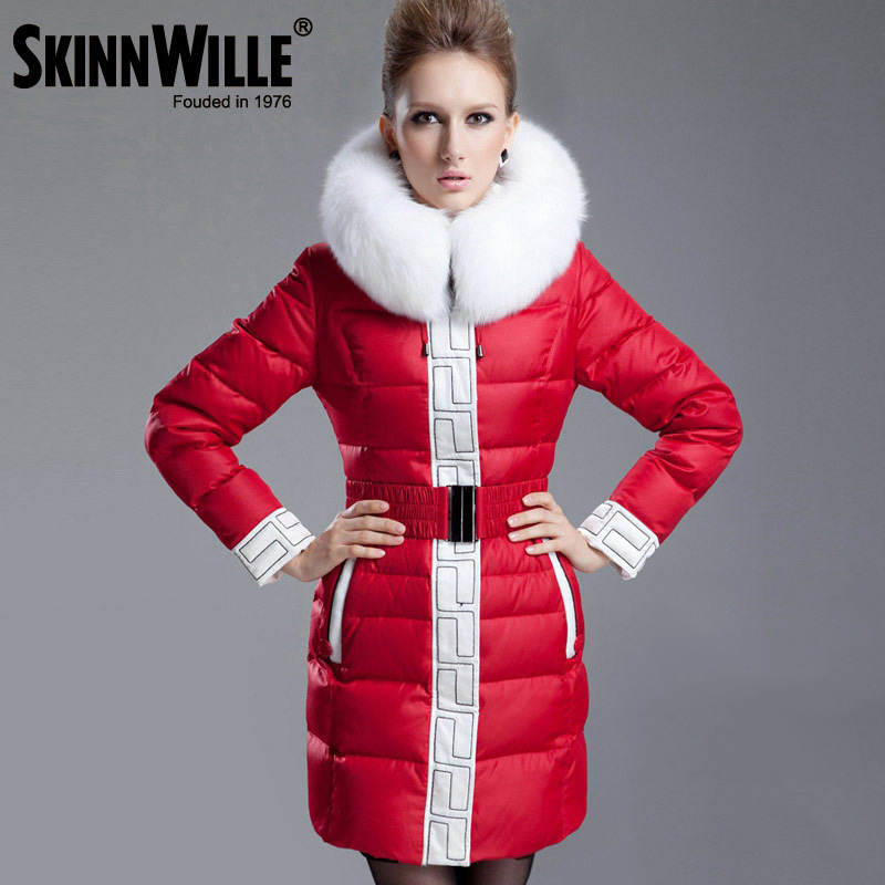 Skinnwille Long Coat Artificial Fur Collar Clothing Fashionable Female 2018 Down Jacket Down Jacket Long Women's Clothing Winter