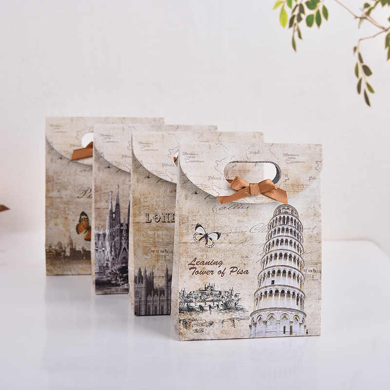 5pcs/lot london paris pisa spain Gift paper Bag  birthday gift bag Wedding Decoration Gift Bag for Jewelry Birthday  Party