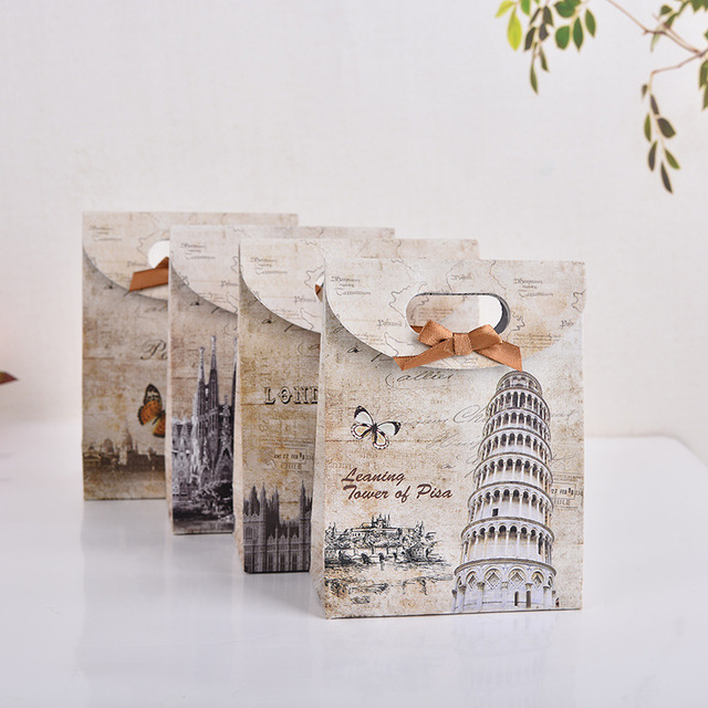 5pcs Lot London Paris Pisa Spain Gift Paper Bag Birthday Wedding Decoration For Jewelry Party
