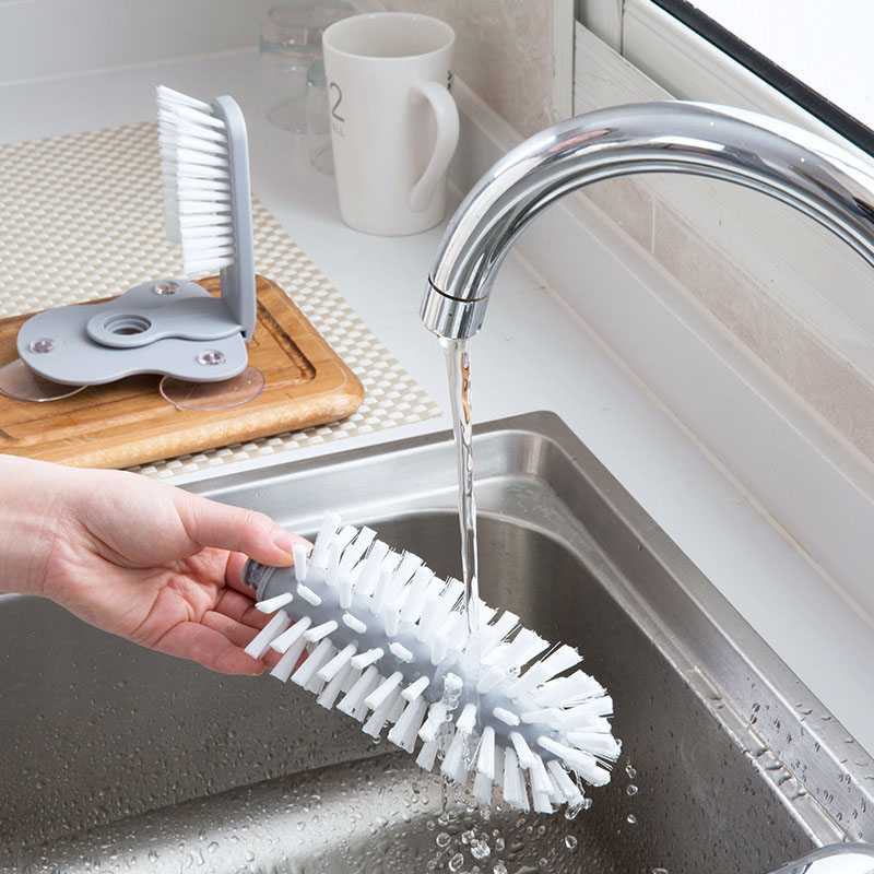 Image 3 - Glass Washer Sink Suction Cup Base Cleaning Bottle Glass Brush Bathroom Tool HYD88-in Cleaning Brushes from Home & Garden