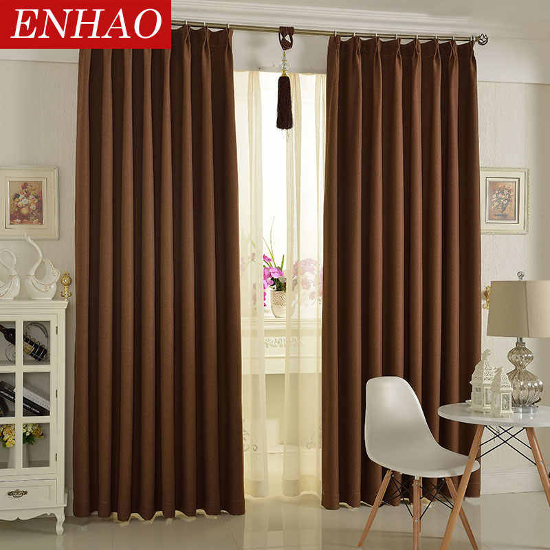 ENHAO Modern Solid Blackout Curtains for Living Room Bedroom Kitchen Curtains for Window Linen Curtains Fabric Blinds Drapes