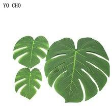ФОТО yo cho 7pcs turtle leaf artificial green plant monstera branch palm fern for home party decor diy tropical wedding decoration