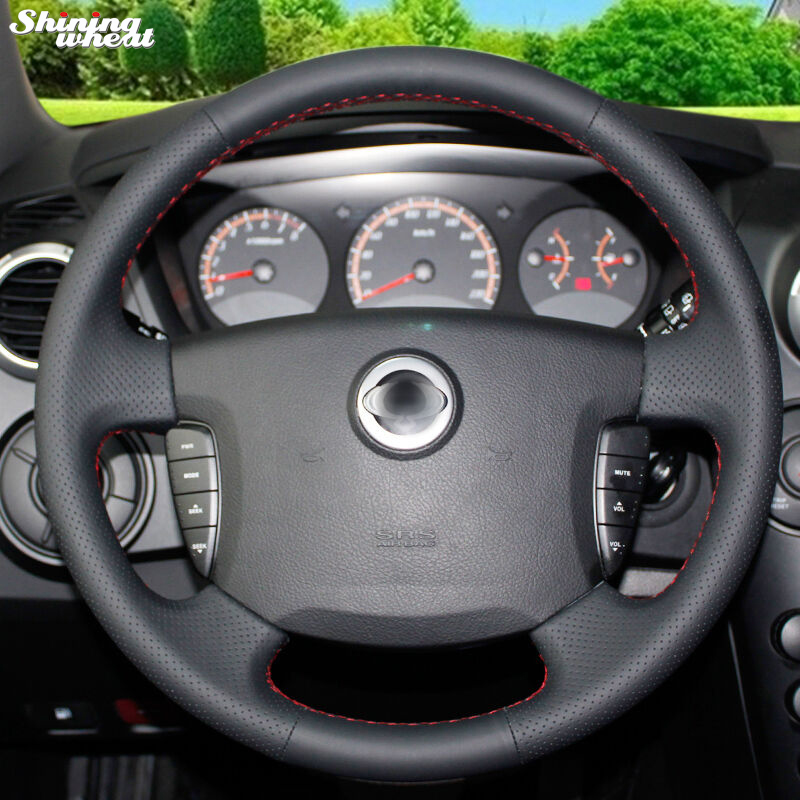 Shining wheat Hand-stitched Black Leather Steering Wheel Cover for Actyon
