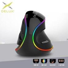 Delux M618Plus RGB ergonómico ratón Vertical 6 botones óptico de 4000 DPI ratón de ordenador extraíble con resto de palma para PC portátil