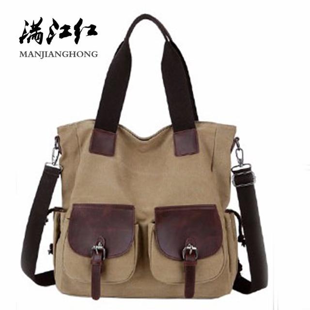 Vintage Canvas Shoulder Bag Women Large Capacity Casual Men Messenger Bag  Crossbody Patchwork Leather Tote Bag Handbags 1350 9457cc88001c1