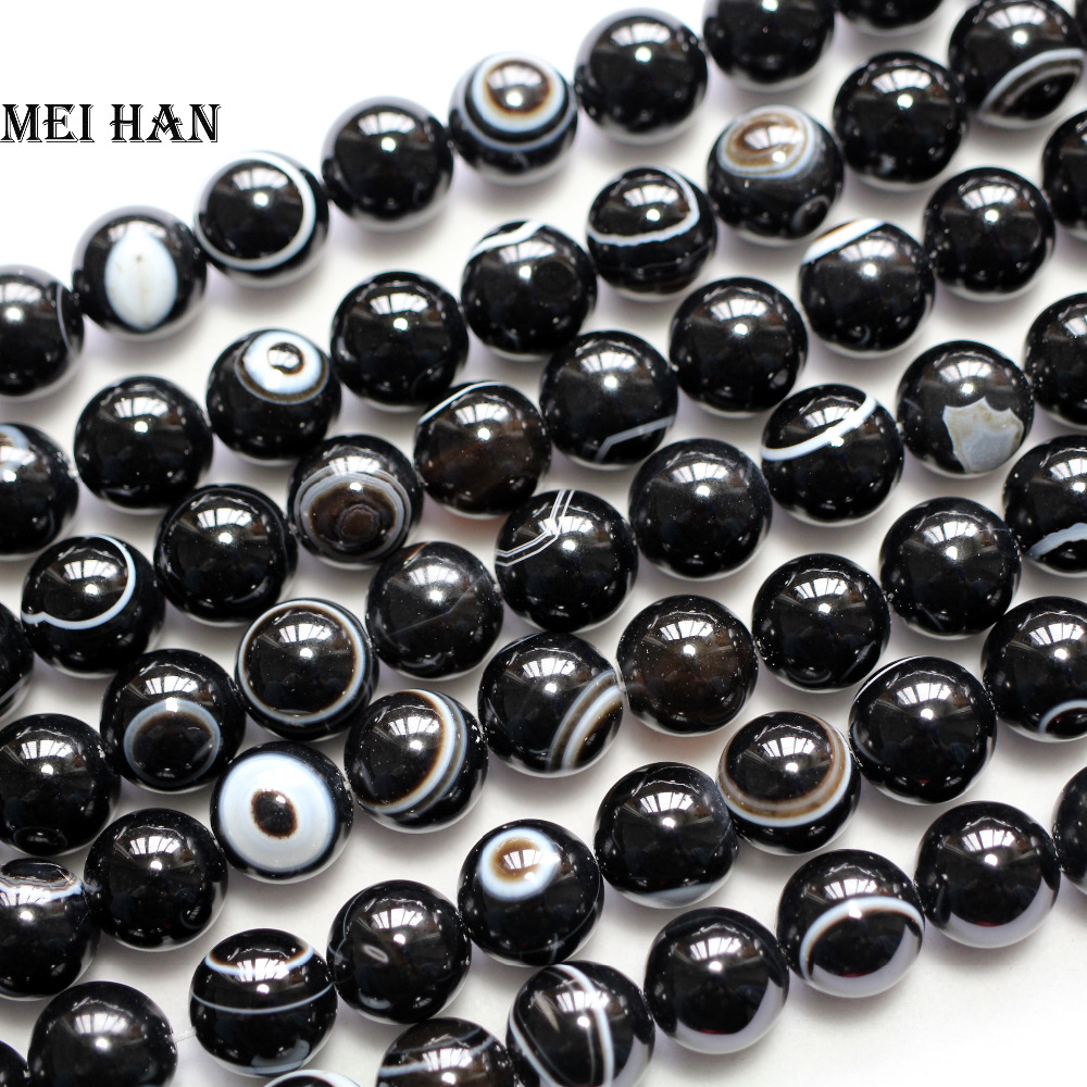 10 mm Unique Black /& White Eye Agate Gemstone Loose Beads 15/""