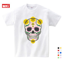 2019 New Children Lovely Skull Print T-shirt Clothes For Summer Short Sleeve Solid Tee Tops Boys/Girls Casual Tops 3T-9T недорого