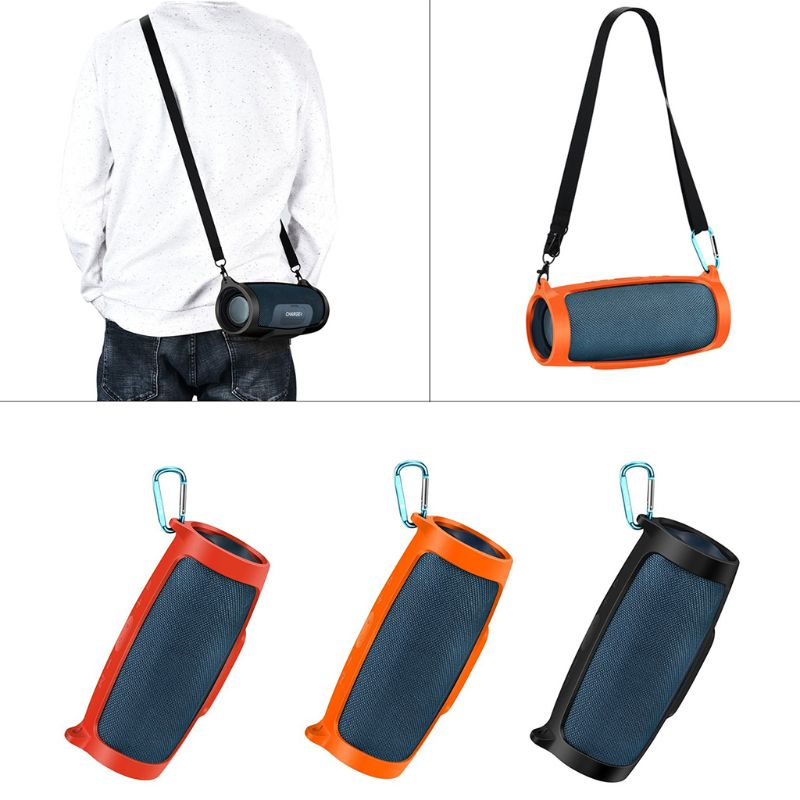 Silicone Case Cover Skin With Strap Carabiner for JBL Charge 4 Portable Wireless Bluetooth SpeakerSilicone Case Cover Skin With Strap Carabiner for JBL Charge 4 Portable Wireless Bluetooth Speaker
