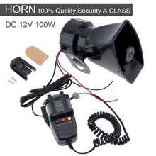 100W 12V 3 Sound Car Emergency Siren Air Horn Mic PA Speaker Electronic Warning Alarm Ambulance Amplifier Hooter
