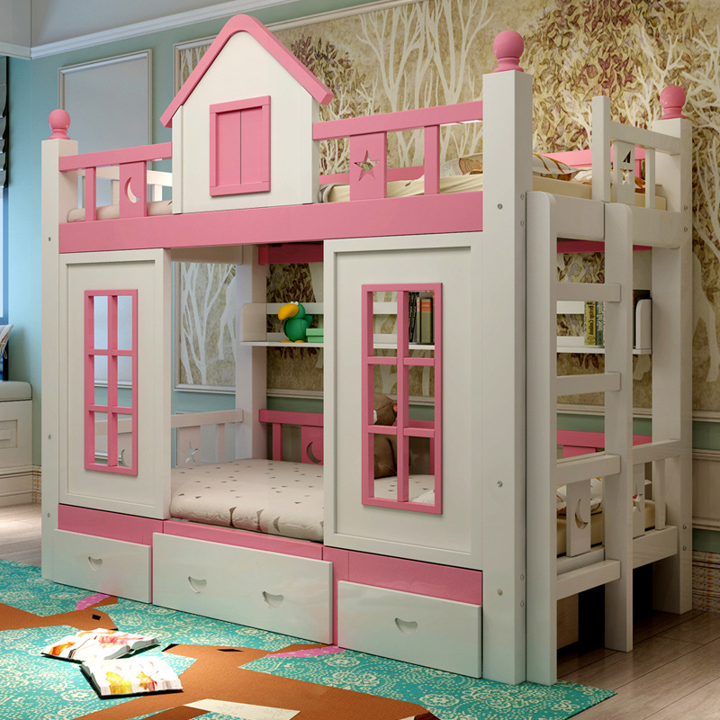 3  0128TB006 Fashionable kids bed room furnishings princess fortress with slide storages cupboard stairs double kids mattress HTB1UHs0oJfJ8KJjy0Feq6xKEXXaD