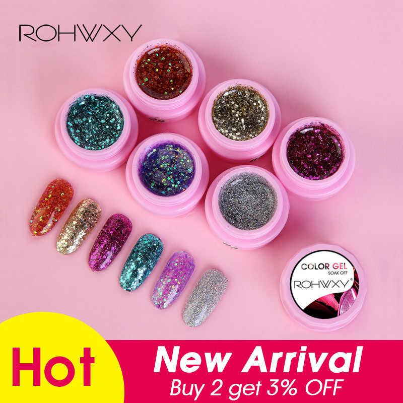 ROHWXY 1 תיבת ציפורניים ג 'ל פולני מניקור 100 צבעים UV ג' ל לכה עבור נייל אמנות עיצוב משרים Off ג 'ל לכה למעלה ובסיס מעיל