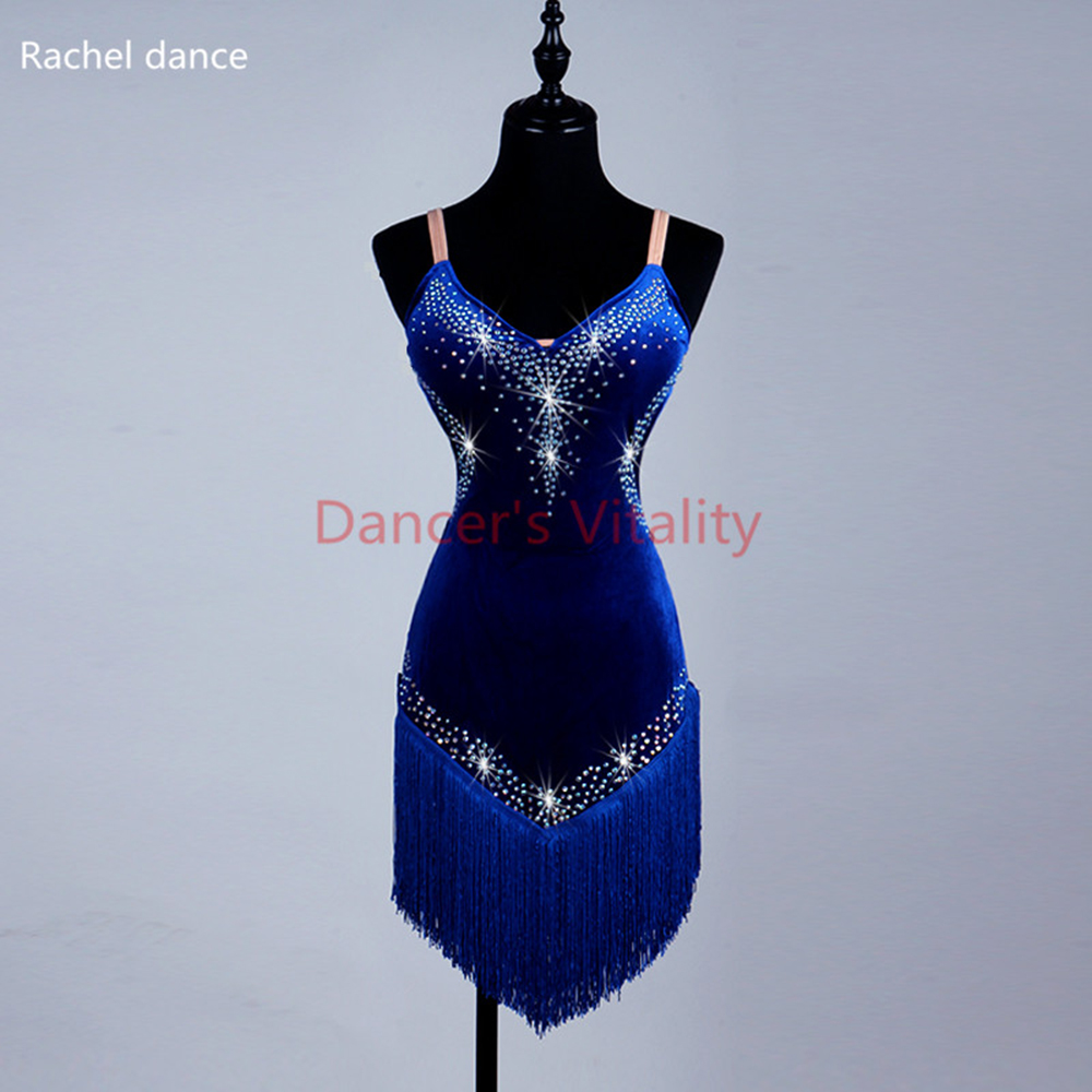 2017 New Style Latin Dance Costume Sexy Senior Spandex Stones Royal Blue Sleeves Latin Dance Dress For Women Latin Dance Dresses