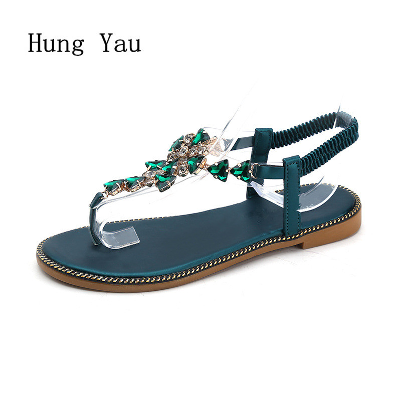 Women Sandals Flip Flops 2018 New Summer Fashion Rhinestone Wedges Shoes Woman Slides Crystal Bohemia Lady Casual Shoes Female wastyx new 2017 summer fashion cowboy women sandals casual women flip flops shoes wedges shoes woman