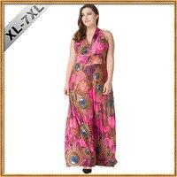 Women Summer Beach Dress V Neck Sleeveless Long Maxi Halter Dress 5XL 6XL 7XL Plus Size Dresses Vestidos longos de verao