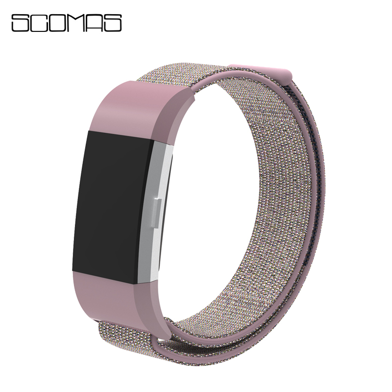 SCOMAS for Fitbit Charge 2 Bands Nylon Adjustable Breathable Stick Replacement Straps for Fitbit Charge2 Smart Wristband Bandje