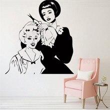 Wall Art Sticker Barbershop Salon Decor Beauty Decoration Women Girl Poster Vinyl Removeable Ornament Fashion Modern Decal LY393