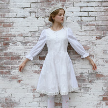 LYNETTE'S CHINOISERIE New arrival vintage handmade embroidered patchwork cloth princess white fluid one-piece dress