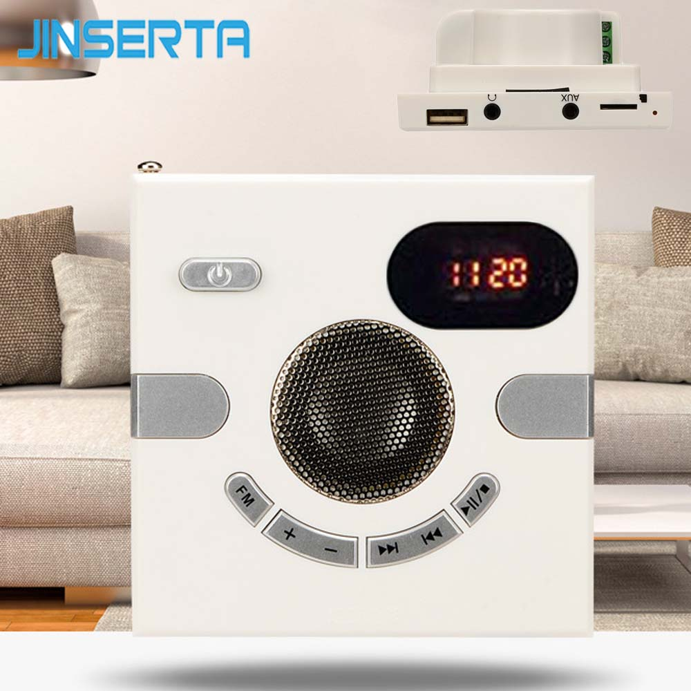 JINSERTA 86 Type Wall Speaker FM Radio with Time Display Headphone Jack Support AUX Audio TF Card USB Disk MP3 Player USB Charge