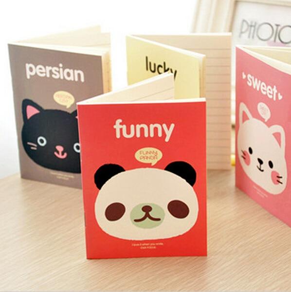 2017 New Kawaii Stationery Cute Cartoons Animals Head Cover Mini Notebook Notepad Diary Pocket Exercise Book Gift K6541
