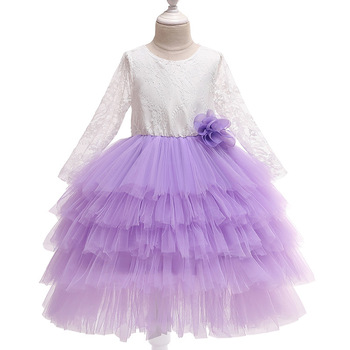 2018 nuevo Vestido de encaje para bebé niña 1 año vestidos de cumpleaños para niñas Vestido de flores de manga larga Vestido de fiesta de boda Vestido de princesa