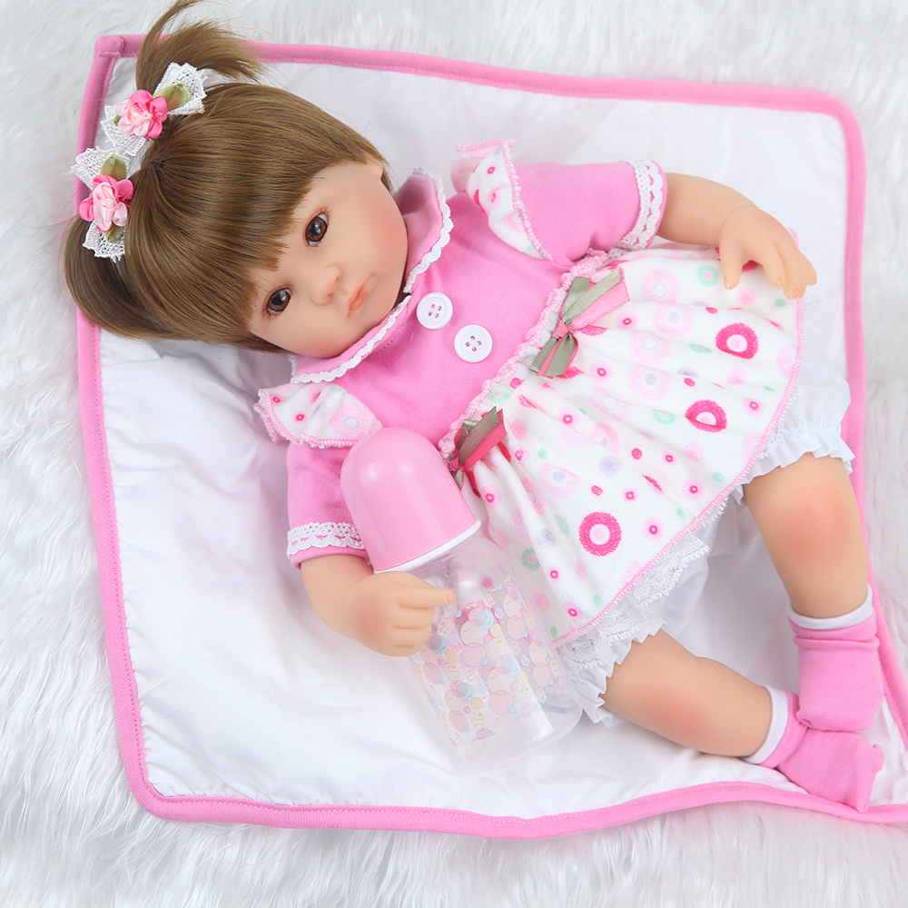 40cm Silicone Reborn Baby Doll kids Playmate Gift For Girls 16 Inch Baby Alive Soft Toys For Bouquets Doll Bebe Reborn 1